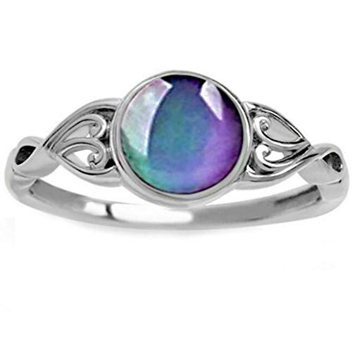 Children Girl Round Shape Simulated Moon Stone Color Changing Mood Ring (Silver, 7)