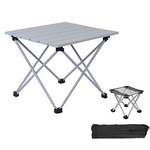 FIONAT Mesa de Camping Plegable con Sillas, Mesas Plegables en Aluminio, Mesas...