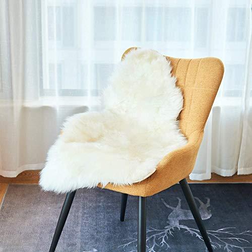 EUGAD 0054YMDZ Lammfell Schaffell Teppich echtes Naturfell Bettvorleger Sofa Matte Weiß 80 x 50 cm