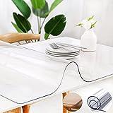 Zlovne Mantel Transparente de Material PVC,Protector de Mesa Espesor de 2 Mm,Suave e Enrollado Table Protector Table Cover Brillante y Hermoso para Mesa de Café Y Cocina (155x280cm/61x110inch)