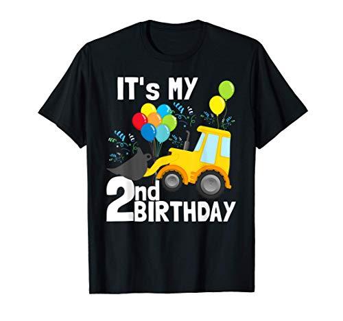 It's My 2nd Birthday Digger Loader Truck 2 Birthday Boy Maglietta