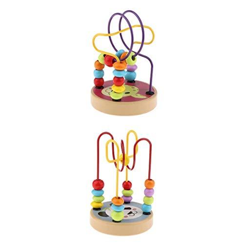 Amagogo Juego de 2 Dibujos Animados Clásico Bebé Juguete Bead Maze Abacus Cube Niños Regalos Educativos
