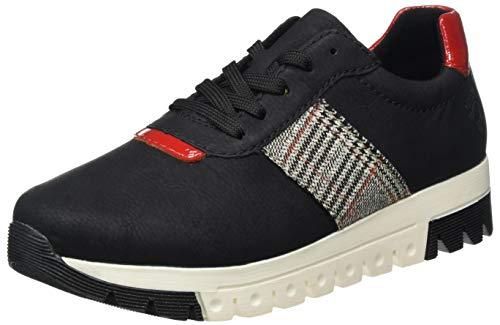 Rieker Damen L2904 Sneaker, schwarz/Flamme/grau-rost 00, 39 EU