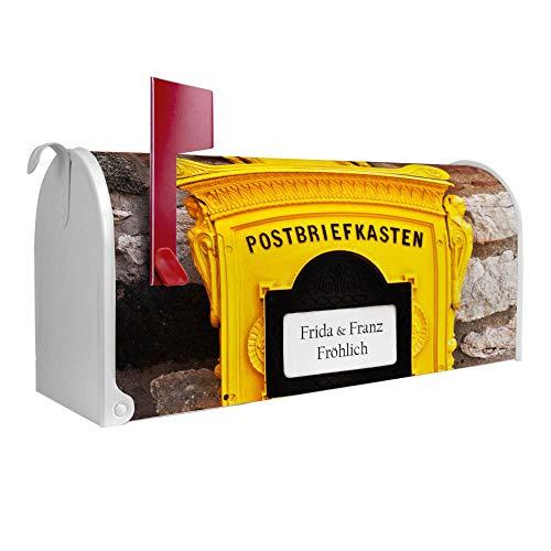 BANJADO US Mailbox | Amerikanischer Briefkasten 51x22x17cm | Letterbox Stahl weiß | mit Motiv WT historischer Postkasten