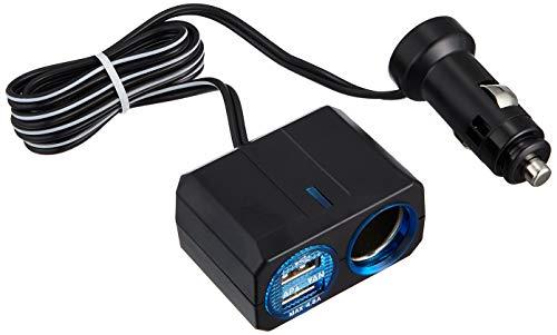 槌屋ヤック 車用 ソケット分配器 リングライトソケット+2口USB 4.8A PZ-709