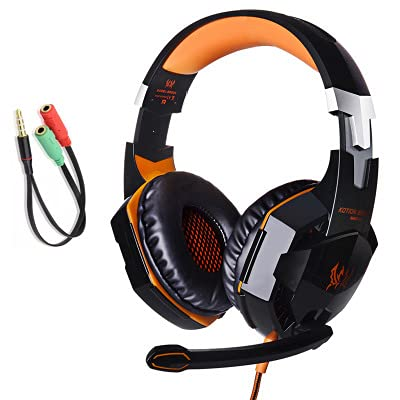 Auriculares De Juegos De Auriculares Ordenador Cableado E-Race para Comer Auriculares De Pollo Conector de Transferencia Black Orange Plus