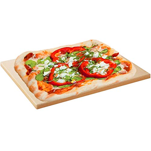 OYUNKEY Pierre à pizza cordierite pour four et barbecue,plaque pizza convient pour la pizza cuisson du pain, des biscuits(38.1 x 30.5 x1.5cm)