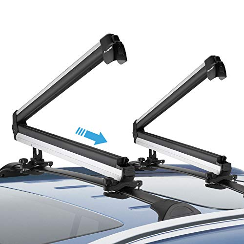 BougeRV Ski & Snowboard Car Racks Fits 6 Pairs Skis or 4 Snowboards, Elevated Design + Pullable Rubber Bar, Aluminum Universal Car Roof Rack Carrier Fits for Most Cross Bars