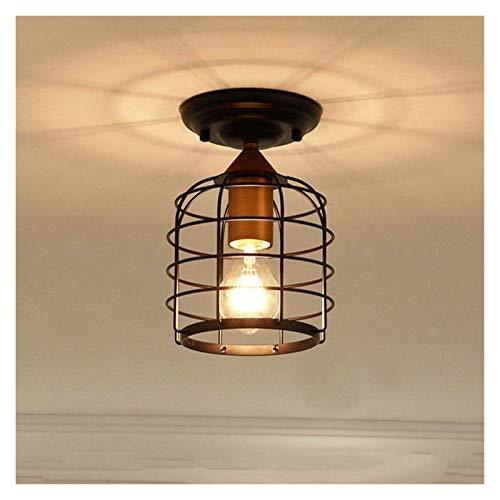 Lámpara de techo, Lámpara de techo retro industrial Linterna de metal negro E27 Bombilla Lámpara de techo Vintage Lámpara de balcón para sala de estar Dormitorio Kitchen Gang, D16 * 23 cm ,lámpara de