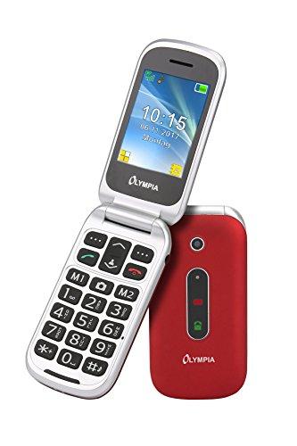 OLYMPIA 2217 Seniorenhandy MIRA, rot Große Tasten Notruf-Taste Klappbares Großtasten-Handy | Mobiltelefon für Senioren/Rentner ohne Vertrag | Altersgerechtes Klapphandy mit Tasten