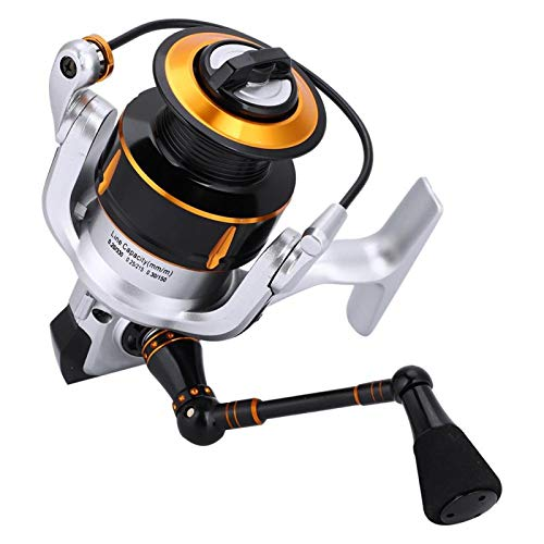 DAUERHAFT Carrete de Pesca de Metal Carrete de Agua Salada 13 + 1 Diseño de rodamiento de Bolas Procesamiento Fino, para Pesca de Agua Dulce(KR5000)