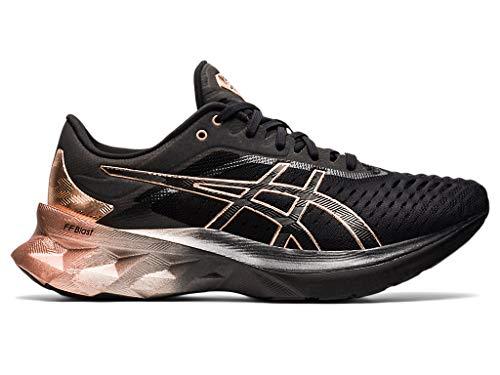ASICS Women's Novablast Platinum Running Shoes, 8.5, Black/Rose Gold