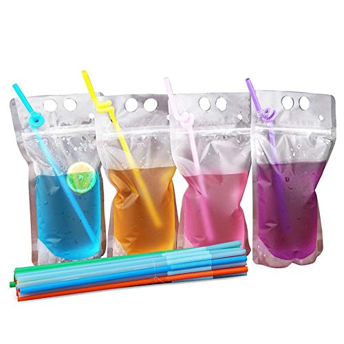 50 Pack Disposable Plastic Drink Pouches Bags 17oz with Straws,5 by 9 Inches 8mil