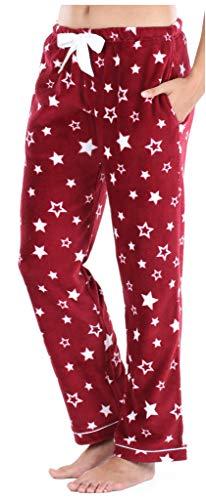 PajamaMania Women's Fleece Pajama Pants with Satin Drawstring, Cranberry Stars, MED