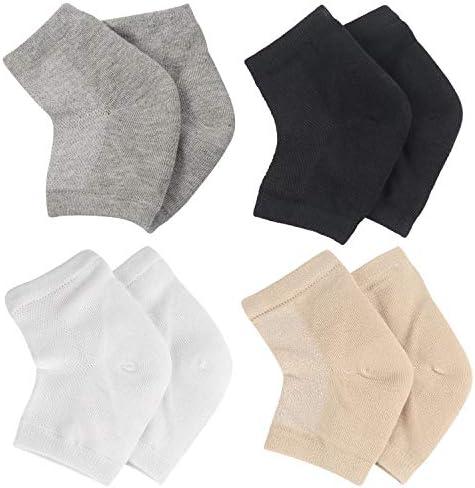 Hedume 4 Pairs Ventilate Gel Heel Socks Soft Open Toe Socks Toeless Spa Socks for Dry Cracked product image