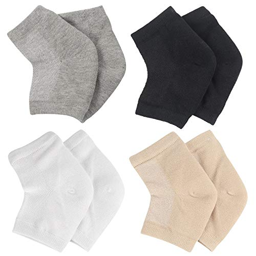 Hedume 4 Pairs Ventilate Gel Heel Socks, Soft Open Toe Socks, Toeless Spa Socks for Dry Cracked Heels, Moisturizing Day Night Care Foot for Both Women & Men (4 Colors)