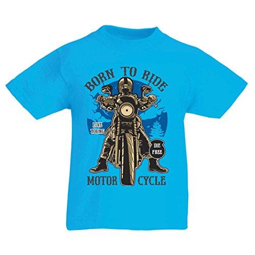 Camiseta Niños/Niñas Live Young - Die Free - Nacido para Montar en Moto, Ideas de Regalos para Ciclistas, Lemas inspiradores (7-8 Years Azul Claro Multicolor)