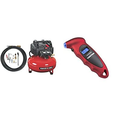 PORTER-CABLE C2002-WK Oil-Free UMC Pancake Compressor with 13-Piece Accessory Kit and digital tire guage