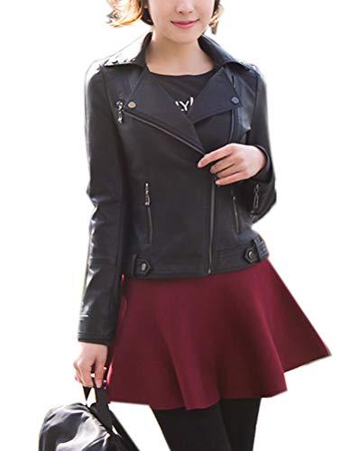 Classic Pink Damen Lederjacke PU Leder Jacken Slim Fit Kurz Jacke Mantel Punk Moto Stil Schwarz XL