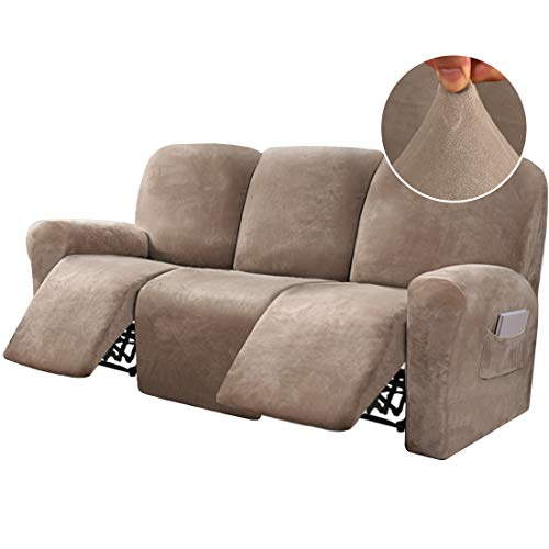 8-Pieces Recliner Sofa Covers Velvet Stretch Reclining Couch Covers for 3 Cushion Sofa Slipcovers Furniture Covers Form Fit Customized Style Thick Soft Washable, Taupe