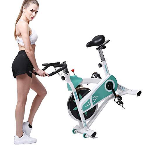 HLEZ Bicicleta Estática de Spinning, Bicicleta Estática Cardiovascular con Sensores de Pulso de Mano Sillín de Altura Ajustable Peso Usuario Soportado 180kg