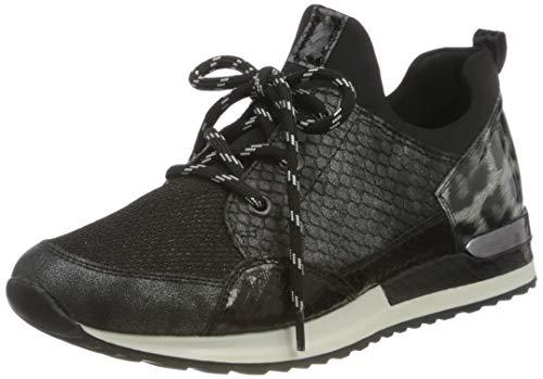 Remonte Damen R2503 Sneaker, Graphit/Schwarz/Schwarz/Schwarz/Schwarz-Weiss/ 45, EU