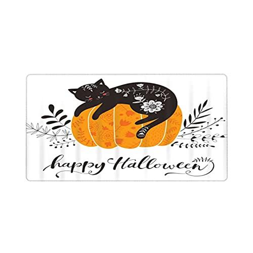 Alfombrilla de ratón para Juegos 30X80CM,Feliz Halloween Lindo Gato Negro en diseño de Calabaza,Base de Goma Antideslizante,Adecuada para Jugadores,PC y portátiles