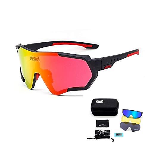 JEPOZRA Sport Sonnenbrille Fahrradbrille Sportbrille mit UV400 3 Wechselgläser inkl Schwarze polarisierte Linse für Outdooraktivitäten wie Radfahren Laufen Klettern Autofahren Laufen Angeln Golf