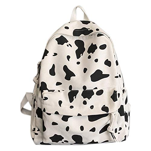 RETYLY Cute Milk Print Women's Backpack Fashion Canvas Travel Bag Male and Female Student Bag White