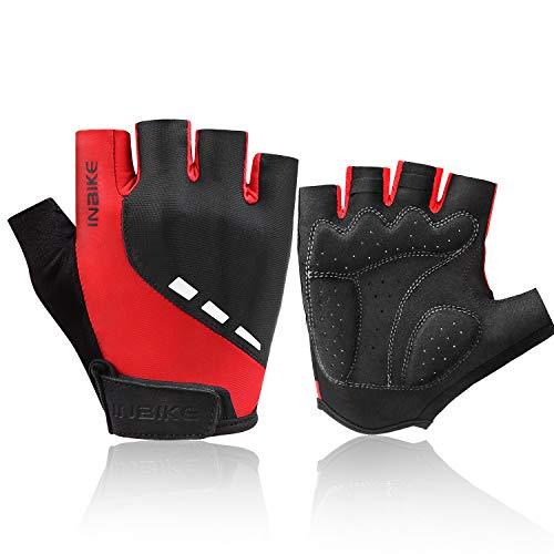 INBIKE Cycling Gloves 3M Gel Pad Breathable Refletive Half Finger Biking Gloves Lightweight for Riding MTB Red X-Large