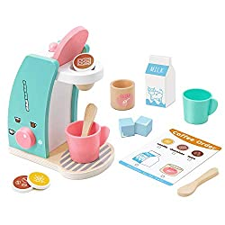 small Play Kitchenware – Cook and serve wooden coffee machines to encourage creative play, 13…