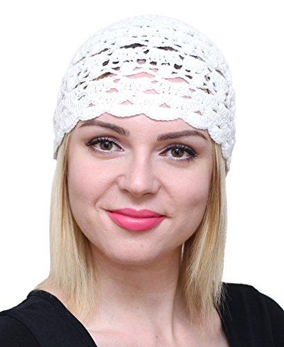 NFB Fascinator Hut für Damen Sommer Beanie Baumwolle Glocke Häkelmütze - Weiß - Einheitsgröße