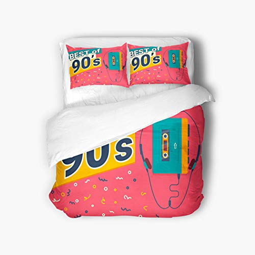 "Meofo 3 Piece Duvet Cover Set Queen 90""x90"" Best 90 S Retro Illistration Stereo Compact Breathable Soft Microfiber Fabric Bedding Set with 2 Pillow Covers Twin Size"