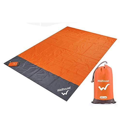 wellhouse Camping Matte 210 × 200cm Wasserdicht Wandern Picknick-Decke Sanddicht Stranddecke Picnic Beach Hiking Blanket Für Reisen Outdoor Camp, Orange