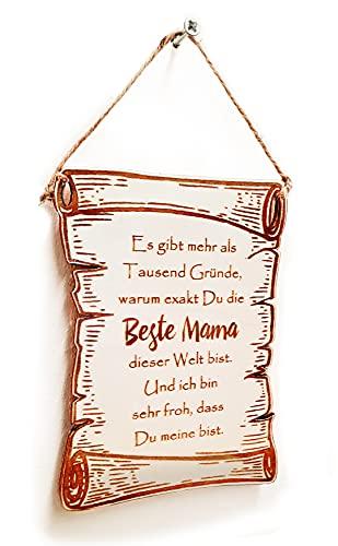 PISDEZ Beste Mama - Wanddekoration Urk&e Auszeichnung in Form Einer Schriftrolle aus Holz - Geschenk zum Muttertag (Größe S - Zum Aufhängen)