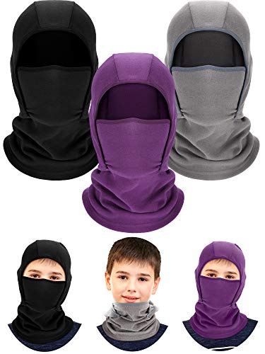 3 Pieces Kids Warm Hood Balaclava Winter Windproof Hat Ski Face Covering Balaclava Fleece Cap Scarf for Boy Girls Outdoor Sports (Black, Grey, Dark Purple)