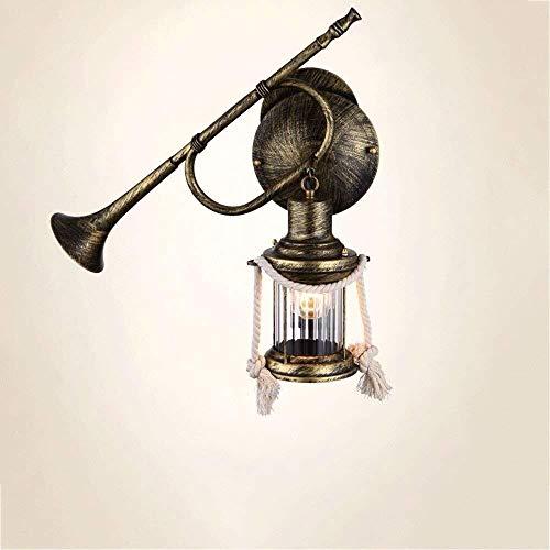 Hancoc Luz de la noche país retro hierro forjado caballo luz instrumento lámpara de pared personalidad creativo barra lámpara de pared pasillo luces té lámparas