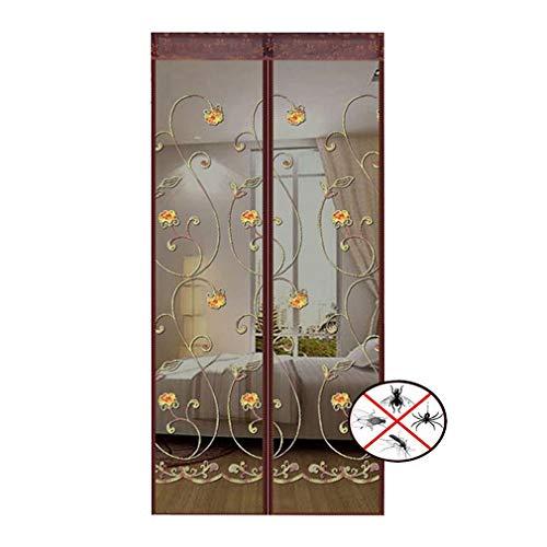 Fliegengitter Tür, Insektenschutz Magnet Vorhang Fliegenvorhang mit Magnetblock, Klettverschluss, Fliegen Gitter Türvorhang für aluminiumlegierung Tür, Holztür & Jeder Türrahmen (Kaffee-Stickerei)