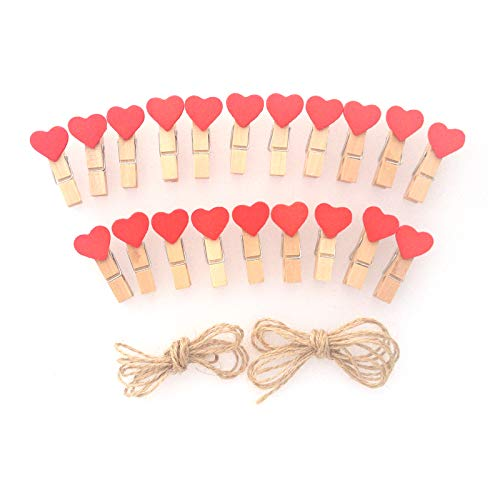 LWR Crafts Mini-Holz-Wäscheklammern, 20 Stück, Design: rote Herzen, mit Juteschnur 2,4m