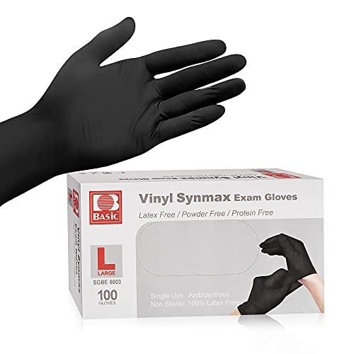 Disposable Medical Black Vinyl Exam Gloves Industrial Gloves - Latex-Free & Powder-Free 100PCS (BK-Large)