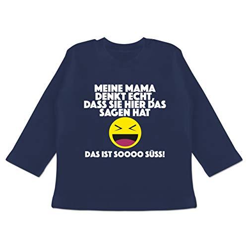 Statement Sprüche Baby - Emoticon - Meine Mama Denkt echt, DASS sie Hier das Sagen hat. Das ist Soooo süß! - 3/6 Monate - Navy Blau - Spruch - BZ11 - Baby T-Shirt Langarm
