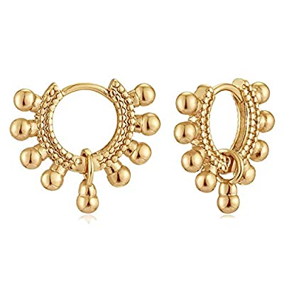 MYEARS Women Gold Huggie Hoop Earrings Bead Ball Sleeper Charm Dangle Drop 14K Gold Filled Tiny Boho Beach Simple Delicate Handmade Hypoallergenic Jewelry Gift