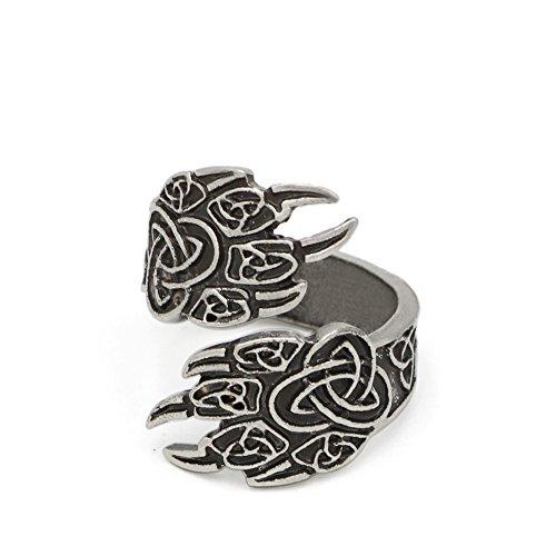 TTKP Celtics Wolf Paw Ring for Men Women Norse Vikings Rings Adjustable Bear Wolf Rings Viking Jewelry