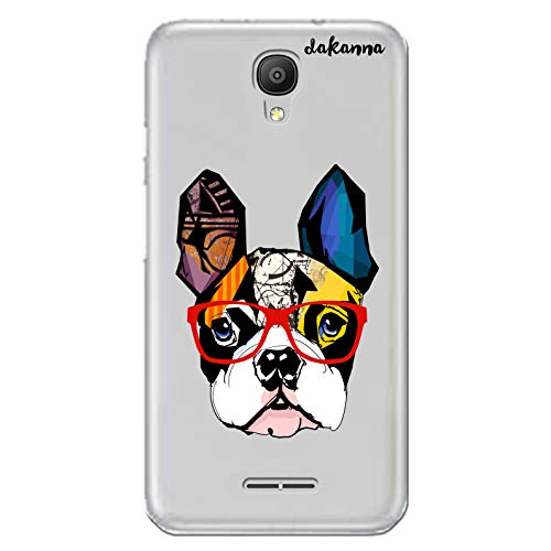 dakanna Funda para [ Alcatel Pixi 4 3G (5.0 Inch) ] de Silicona Flexible, Dibujo Diseño [ Bulldog Frances con Gafas Estilo Comic ], Color [Fondo Transparente] Carcasa Case Cover de Gel TPU