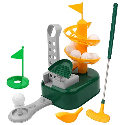 Kids Golf Toys Set Outdoor Lawn Sport Games Golf Ball Training with 15 Balls Educational Golf Toys Sets Indoor Outdoor Practice Golf Training Gift Set for Boys Girls(Yellow)