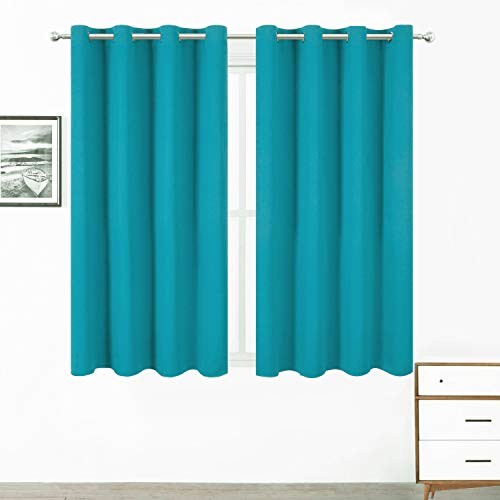 LEMOMO Teal/Turquoise Kids Blackout Bedroom Curtains/52 x 63 Inch/Set of 2 Panels Thermal Insulated Living Room Curtains