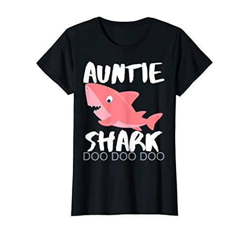 Womens Auntie Shark Shirt CHRISTMAS GIFT 2019 For...