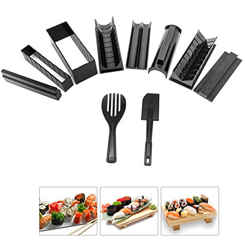 Sushi Making Kit 10 Pieces Plastic DIY Sushi Maker with Multiple Shapes Rice Mold and Rice Spatula Easy Using Sushi Kit for Beginners and Professional at Home Restaurant Hotel