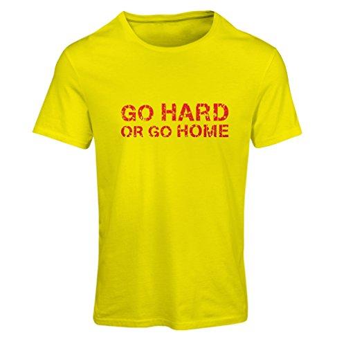 lepni.me T-Shirt Femme Go Hard ou Go Home. Entraînements, accroupissements, haltérophilie, vêtements de Fitness (Medium Jaune Multicolore)