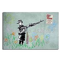 キャンバスペインティング 銃の落書きHD壁アートキャンバスポスターとプリントキャンバス絵画の少年リビングルームの家の装飾のための装飾的な写真 50x70cm